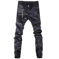 pantalones de cuero de la motocicleta al por mayor-Pantalones de cuero de los nuevos hombres de la moda pantalones casuales de los pantalones vaqueros rectos de la motocicleta flaca tamaño 28-36 A103