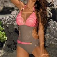Wholesale one piece block for sale - Group buy Lady Swimwear Femme Fashionable Color Blocking Bikini Woman Swimsuit With Golden Decoration Chest Pad One Piece Suits jh V