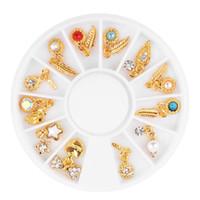 металлические украшения из сердца оптовых-12 Style Nail Art Wheel Metal 3D Tips Pendant Feather Leaves Heart Star Rhinestones  Pearl Crystal Gems Decoration Manicure