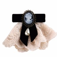 Wholesale ladies victorian dresses - New Women Vintage Cameo Victorian Ladies Brooch Court Style Girls Velet Bow Coat Dress Brooch Collar Pin Costume Jewelry Bow Tie