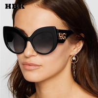 модные бренды солнцезащитных очков оптовых-HBK Cat Eye Солнцезащитные Очки Большой Кадр Урожай Ретро Женщины Марка Дизайнер Роскошный 2019 Новая Мода Модные Солнцезащитные Очки Градиент UV400