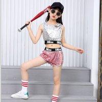Wholesale girls hip hop dancewear - New Sequins Children's Dancewear Girls Pink Jazz Hip-hop Modern Dance Costumes