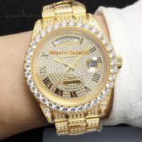 relógio de ouro diamante homem venda por atacado-Melhor Qualidade Completa Grande Diamante Relógio Congelado Para Fora Assista ETA 2836 Automático 41 MM Ouro Homens Prata Impermeável 316 Conjunto De Aço Inoxidável 4 Diamante