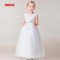 Wholesale wedding dresses bling caps online - FADISTEE New Arrival ivroy Tulle Pretty Flower Girl Dresses bling sequins Baby Girl Infant lace Dress Kids Formal Wear