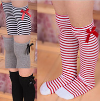 Wholesale korean baby knitted clothes for sale - Baby Stockings Kid Princess Stockings Korean Baby Girls Stripe Bowknot High Stocking Cotton Autumn Knit Knee Stocking Kids Clothing