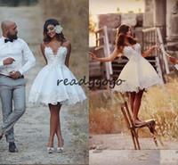 16b6d44dcb7 Short Wedding Dress Knee Length Applique Informal Wedding Bridal Gowns Lace  Vestido De Novia Vintage Brazil Bride Reception Dresses