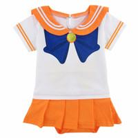 meses de vestido de festa de bebê venda por atacado-Baby Girl Sailor Bodysuit Bodysuit Partido Infantil Playsuit Sailor Moon Vestido De Cristal Cosplay 0-24 Meses