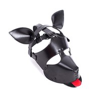 Wholesale leather dog toys resale online - Adult game artificial leather fur dog mask sexy reality headscarf black animal mask halloween sexy toys