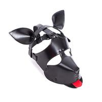 ingrosso maschera di cane di pelle nera-Maschera sexy del cane della pelliccia del cane della maschera di pelliccia del gioco di realtà sessuale sexy di Halloween che maschera i giocattoli sexy di Halloween
