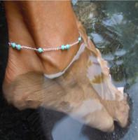 pulseira de tornozelo de prata turquesa venda por atacado-New Turquoise Beads Corrente de Prata Tornozeleira Moda Verão Praia Anklet Manual Tornozelo Pulseira Pé Jóias frete grátis