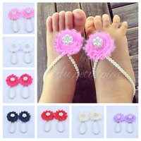 Wholesale simulated pearls resale online - New Arrival kids flower sandals baby barefoot sandals Simulated Pearl foot flower Newborn Baby Girls Foot Band elastic girl shoes KFA29
