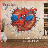 adesivo de parede removível spiderman venda por atacado-3D Spiderman Adesivos de Parede para Crianças, Diy Removível Decalque Da Parede Dos Desenhos Animados Movie Posters Casa Decoração Homem Aranha Wall Art Paper