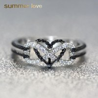 Wholesale infinite love jewelry resale online - Exquisite Designer Jewelry Rings Infinite Love Motif Two tone Anchor Heart Promise Wedding Engagement Ring For Women Gifts Fashion