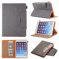 Wholesale ipad air leather case cover - For Apple iPad Mini Ipad Air Leather Wallet PU Luxury Bling Cash Money Pocket Card Slot Case Skin Cover