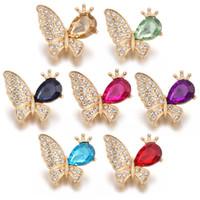 ingrosso scivolo farfalla per braccialetto-New Gold Noosa Snap gioielli strass farfalla 18 millimetri bottoni automatici in metallo con chiusura a scatto per le donne gioielli intercambiabili