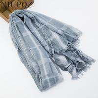 Wholesale Wrinkle Long Scarf - 2017 Fashion Women Cotton Acrylic Winter Warm Soft Scarf Plaid Long Wrinkle Shawl Muslim Hijab Air Conditioning Wrap M197