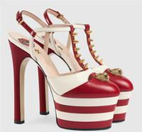 sandalia eva plataforma al por mayor-Nueva moda europea americana hebilla 16 cm tacón alto 6 cm plataforma color remache sexy labios rojos sandalias de tacón alto