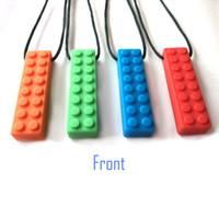 pacote de tijolos venda por atacado-2 PCS PACK FDA Food Grade Silicone Necessidades Funcionais Sensory Chew Colar Chewelery, Dentição, auto Soothing Soothing Tijolo Para Crianças