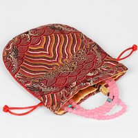 Wholesale chinese jewellery - Vintage Wave Silk Small Drawstring Bags Chinese Brocade Pouches Jewellery Gift Bags Fabric Makeup Bag with Lining 13x15cm 2pcs lot
