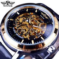 reloj mecánico esqueleto para hombre ganador al por mayor-Ganador de 4 fuegos Diseñador transparente del caso para hombre esqueleto de oro BLACK volver relojes de primeras marcas reloj mecánico de los hombres reloj de pulsera