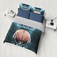 desenhos animados do oceano venda por atacado-Dropshipping Conjunto De cama 3D Conjuntos de Cama azul impressão Oceano peixe Shell conjuntos de capa de Edredão Tiro de Basquete Menino gife