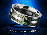 Wholesale mosaic shells resale online - Europe fashion Male style unique color shell mosaic ring titanium steel shell ring mix size to