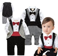 baby gentleman tuxedo großhandel-Baby-Herrenspielanzugkind-Krawatte Houndstooth-Overall-Mode-Smoking-Butikekinder, die Kleidung 2 Farben C5578 klettern