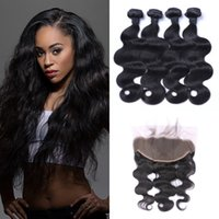 Wholesale 6inch human hair resale online - 4pcs Virgin Body Wave Malaysian Human Hair Bundles With Lace Frontal Closure inch Bleached Knots Natural Color No Shedding G EASY