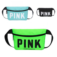Wholesale nylon fabric roll - Pink Nylon Sports Handbags Portable Men Women Storage Bag With Black Zipper Waist Pack Wear Resistant 16ch B