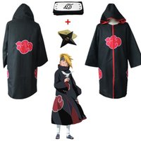 itachi s akatsuki umhang großhandel-Asiatische Größe Japan Anime Schwarz Naruto Akatsuki Itachi Uchiha Deluxe Gruppe Cosplay Cosplay Cosplay Kostüm