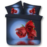 ingrosso rosa twin-3D 3 rose copripiumino set di biancheria da letto queen copriletti floreali per le vacanze della trapunta delle coperture Lenzuola federe fiori doppia completa re regina