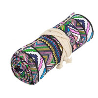 rolling pencil UK - 68 Holes Ethnic Wind Professional Cosmetic Brush Bag Pen Bag Roll Pouch Printing Pencil Case Canvas Make Up