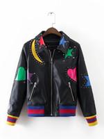 Wholesale leather jacket women for sale - Winter PU leather Punk jacket Moon Star Love Patch Sleeve Rivet Black Bomber Baseball Contrast Women Coat Outwear
