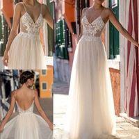 Wholesale Luxury Boho Fashion - Fashion 2018 Gali Karten Wedding Dresses Spaghetti Lace A Line Wedding Gowns Luxury Appliques abiti da sposa Backless Boho Wedding Dress