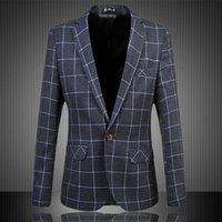 Wholesale slim dresses korea - Blazer Slim Fit Men Korea Plus Size Business M-Xxxxxxl Size Lattice Wedding Dress High End Blazer Hombre B03 Z30