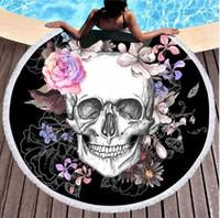 esteras gruesas de yoga al por mayor-Mujeres Gran Toalla de Baño para la Playa Gruesa Ronda 3d Azúcar Cráneo Impreso Tela Toalla de Playa Rápida Comprimido Toalla Tapiz de Yoga Tapete