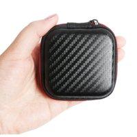 sabit taşıma çantası kulaklık toptan satış-Karbon Fiber Fermuar Çanta için Kulaklık Kablosu Mini Kutu SD Kart Taşınabilir Sikke çanta Kulaklık Çanta Taşıma Kılıfı Cep Hard Case