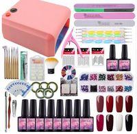 Wholesale gel polish kits lamp resale online - Nail Art Kit Set Color UV Gel Polish W UV LED Lamp UV Gel Nail Art Tools Nail Gel Kit