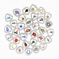 Wholesale football floats - Mixture 32 Football Sports Dangle Charms Glass Crystal Heart Charms DIY Bracelet Pendants Jewelry Hanging Floating Necklace Charms