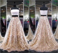 Wholesale strapless ball gown patterns - 2018 Gold Two-pieces Prom Party Dresses Spaghetti Strap Tulle Evening Dresses with Sequins Girl Pageant Dresses Formal Evening Gowns Ball