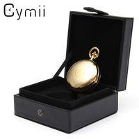 Wholesale single watch display - Cymii Watch Box Case Jewelry Chic Black Leather Display Case Single for Pocket Watch Box Jewel Chain Storage Holder Gift