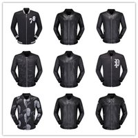 Wholesale champagne leather jacket - Top Quality Brand Men's PU Faux Leather Jackets Coats Skull Heads Outerwear winter Slim For man Zipper US dollar Designer M-XXXL windpr