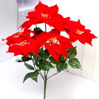 bouquet de fleurs décoratives maison artificielle achat en gros de-12 Bouquets Feuille rouge Émuler Bonsai Bouquet Poinsettia Posy Décoratif Artificielle Fleurs De Noël Faux Pot Plantes Décor À La Maison sans pot