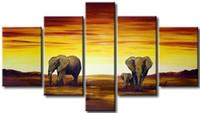 afrikanischen landschaftsmalereien großhandel-5 Panel handgemachte Ölgemälde afrikanischen Elefanten Malerei Landschaft Leinwand Öl hängen Wand Kunst Wohnzimmer Dekoration