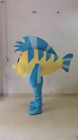 Wholesale fishing mascots - 2016 hot brand new Mascot Fresh Yellow Blue Tropical Fish Aquarium COLORFUL FISH Goldfish Gold Mascot Costume With Green Wings Black