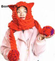 вязаные шарфы цвета оптовых-BomHCS 11 Colors Beautiful Big Scarf with Cute Ears Beanie 100% Handmade Knitted Ladies  Ears Neckerchief Hat