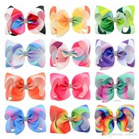 Wholesale kids clipper - 12colors 5.5 Inches Baby girl hair bows barrettes Multicolor Bubble Rainbow Design Girl Clippers Bow kids Ribbon Accessory Hairpins KFJ197