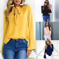 Wholesale ladies short sleeve sweatshirts - New Arrival 2018 Women Sweaters Fall Autumn Women Chiffon Outwear Coats Long Sleeve Sweatshirt T-shirt Jumper Pullover Ladies Top FS5671