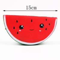 Wholesale Fruit Ornaments - Cartoon expression watermelon squishy new foam simulation fruit bread cake slow rebound resin decorative ornaments squishies toys