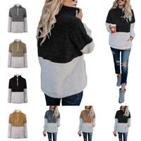 nueva chaqueta multi cremallera al por mayor-Moda con cremallera suéter invierno mujer con cuello en v manga larga chaqueta Nueva Sherpa Hoodie Multi Color 29 5yy C